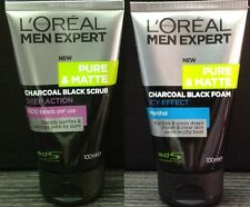 2x LOREAL Charcoal Black Foam Deep Action Icy Effect Face Wash SCRUB Pure Matte