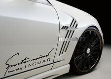 Sports mind Powered by JAGUAR X S Tipe Racing Decal sticker BLACK Pair
