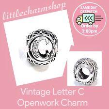 Authentic Genuine Pandora Sterling Silver Vintage Letter C Charm - 791847CZ