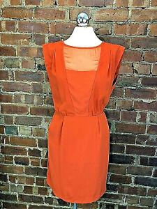 Spotlight by Warehouse Burnt Orange Blouson Dress - Size 10 Party Autumn