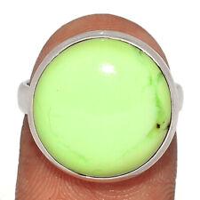 Lemon Chrysoprase - Tanzania 925 Sterling Silver Ring Jewelry s.7 BR63951