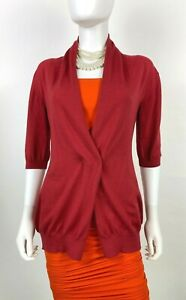 Akris New 6 US 42 IT 36 D M Red Wool Stretch Cardigan Sweater Snap Runway Auth