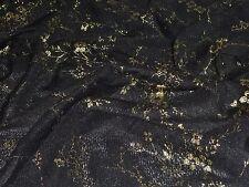 FOIL FOIL STRETCH MESH-BLACK/GOLD -DRESS FABRIC-FREE P&P