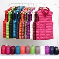 Women Stand collar winter Ultra Light 90% Duck Down Vest Coat Sleeveless Jacket