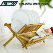 Bamboo Foldable Kitchen Drying Dish Rack Drainer Plate Bowl Holder Storage L