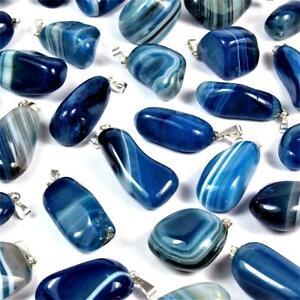 Premium blauer Achat Trommelstein Anhänger mit silberner Öse Edelstein blau A