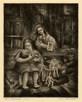 DONALD VOGEL, 'THE LULLABY', signed drypoint, c. 1940.