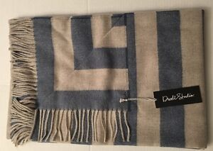 DWELL STUDIO Baby Alpaca Draper Blue Stripe Chinois Throw Blanket Brand New NWT