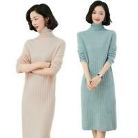 Women's 100% Wool Sweater Dress Turtleneck Warm Winter Knee Long Autumn Winter L