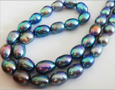 "NATURAL 18""12X9MM TAHITIAN GENUINE PEACOCK BLUE GREEN PEARL NECKLACE 14K AAA+"