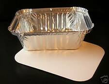 50 x ALUMINIUM FOIL TAKEAWAY FOOD GRADE CONTAINERS WITH LIDS - No1