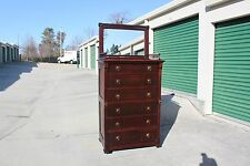 Walnut Victorian Lockside Tall Chest Dresser w Key & Mirrored Gallery Top Ca1880