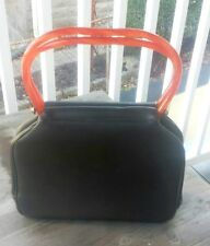 Great Vintage Brown Leather Handbag with Amber Plastic Handles