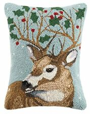 Christmas Reindeer Holly Leaves Holiday Hooked Wool Lumbar Pillow