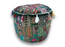 Indian patchwork handmade embroidered cotton round ottoman footstool pouf cover