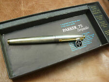 PARKER 75 KEEPSAKE SMOOTH SILVER  FOUNTAIN PEN  14K '65' NIB NEW/ BOX