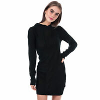 Womens Brave Soul Knitted Hoody Jumper Dress in black.