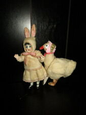 Antique bisque Easter Rabbit -Bunny doll with goose - Germany