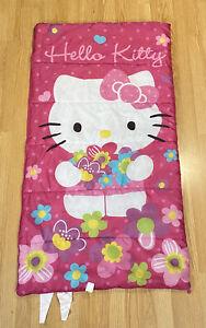 "HELLO KITTY Child's Sleeping Bag 30""x 54"" Sanrio 2015 Pink Flowers Kids Size"