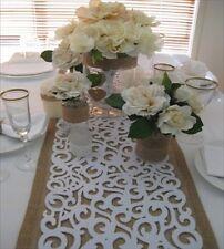 Decorative Filigree  Laser Cut Felt Table Runner  - White