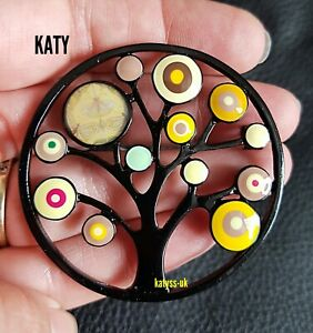 Large Art Deco Vintage Style Tree of Life Yellow Enamel Brooch Broach Pin Gift