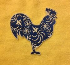 Blue And White two Color rooster Chicken embroidered patch applique