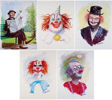 Five VINTAGE Clown Prints RED SKELTON Emmett Kelly W. HAROLD HANCOCK Clowns MINT
