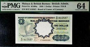PMG 64 UNC 1959 MALAYA & BRITISH BORNEO 1 Dollars S/N-B/37 810587(+1 note)#17196