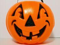 Vintage Halloween Plastic Blow Mold Pumpkin Jack O Lantern Bucket Pail Unmarked