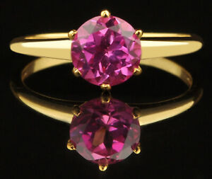 100% Natural African Pink Tourmaline 1.50Ct Round Shape Ring In 14KT Yellow Gold