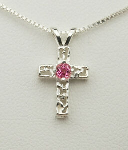 Genuine Gemstone Birthstone Cross Pendant Necklace - SS