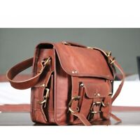 """Leather Bag Business Messenger Laptop Shoulder Briefcase Handbag Brown 15"""""""