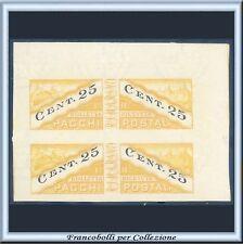 1945 San Marino Pacchi cent. 25 Coppia non dentellata n. 19h Varietà Nuovo ** A
