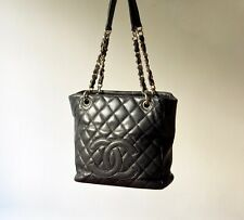 Auth CHANEL Petite Shopping Tote with Gold Hardware Black Quilted Caviar Leather