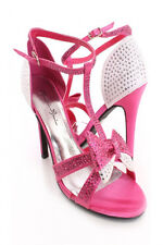 Womens Teen Strappy Open Toe High Heels Pink Silver Discount Heel Shoes Pumps