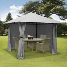 More details for 3m x 3m gazebo marquee heavy duty garden tent waterproof full side curtains grey