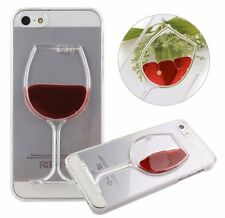 For iPhone SE 5S - Hard Clear Protector Skin Case Cover Red Wine Glass w/ Liquid