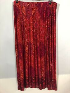 Catherines Skirt 1X PLus Size Elastic  Maxi Slits Summer Stretch Plus  Pink
