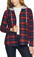 CQR Women's Hooded Plaid Flannel Shirt, Brushed Casual Button Down Shirts