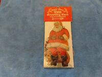 VINTAGE 1956 CHRISTMAS SANTA CLAUS COIN GREETING CARD PACKAGE OF 2 DIE CUT