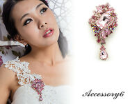 pendant pink crystal Bouquet brooch wedding Birthday gift Valentine dress H07