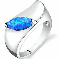PEORA Created Blue Opal Mod Ring Sterling Silver Marquise Cut Size 7