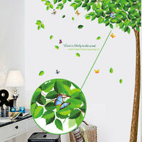 Removable Green Tree Leaves Vinyl Art DIY Room Home Decor Wall Stickers Decal