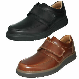 MENS CLARKS UN ABODE STRAP UNSTRUCTURED HOOK & LOOP CASUAL LEATHER SHOES SIZE