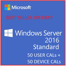 Windows Server 2016 Standard License RDS 50 USER Cals + DEVICE CALs + Download