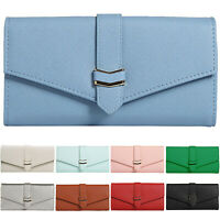 Women Leather Buckle Purse Card Cash Holder Handbag Plain Long Wallets Envelope