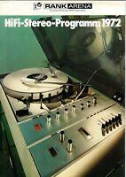 RANK ARENA - HiFi-Stereo-Programm 1972 - Prospekt Broschüre - B14819