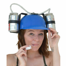 Party Game Beer Drink Dual Can Straw Drinking Hard Hat Helmet Design Beer Helmet