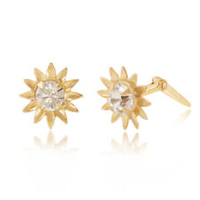 9ct yellow gold north star white crystal Andralok stud earrings / Gift box