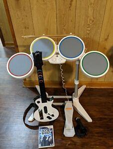 Wii Rock Band COMPLETE Set Bundle Guitar, Drums, game , & mic ~ TESTED FAST SHIP